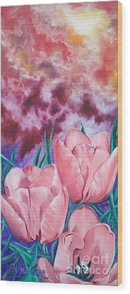 Wood Print featuring the painting Peachypink Tulips by Sigrid Tune