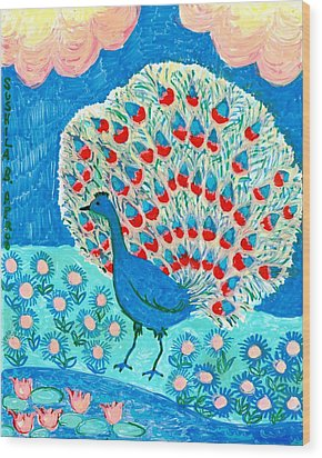 Peacock And Lily Pond Wood Print by Sushila Burgess