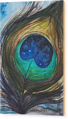 Peacock Feather Wood Print by Tara Thelen