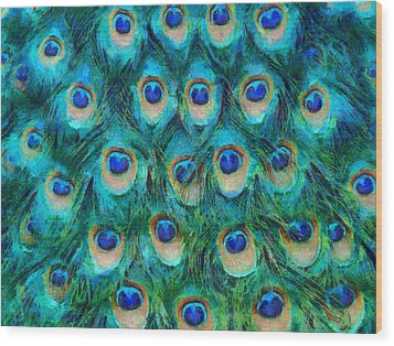 Peacock Feathers Wood Print by Nikki Marie Smith