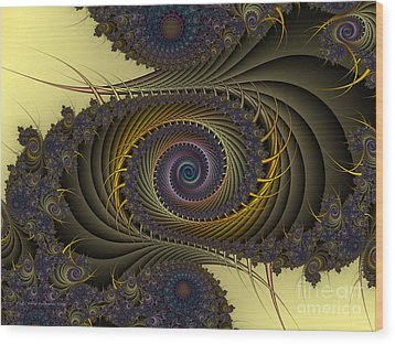 Wood Print featuring the digital art Peacock by Karin Kuhlmann