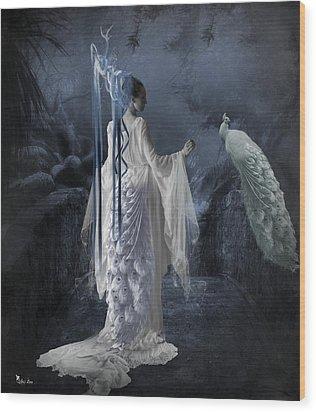 Peacock Lady Wood Print