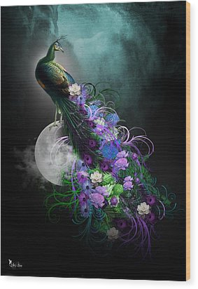 Peacock Of  Flowers Wood Print