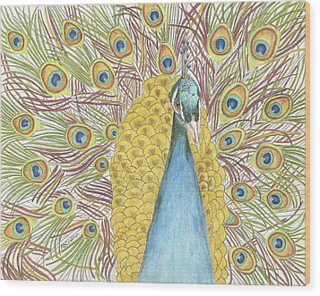 Wood Print featuring the drawing Peacock One by Arlene Crafton