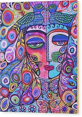 Peacock Pink Butterfly Goddess Wood Print by Sandra Silberzweig