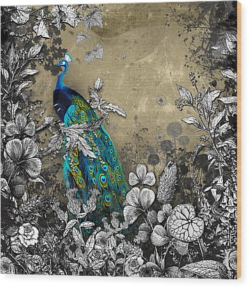 Peacock Pop Up Book Illustration Wood Print by Carly Ralph