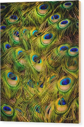 Wood Print featuring the photograph Peacock Tails by Rikk Flohr