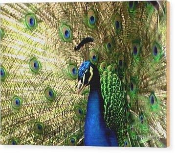 Peacock Wood Print by Toon De Zwart