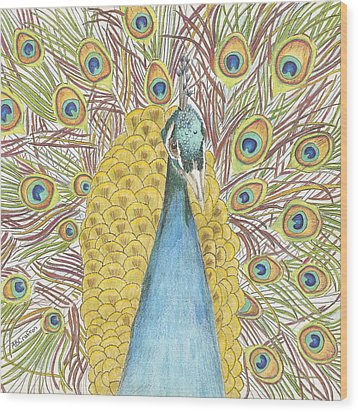 Wood Print featuring the drawing Peacock Two by Arlene Crafton
