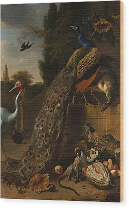 Wood Print featuring the painting Peacocks by Melchior d'Hondecoeter
