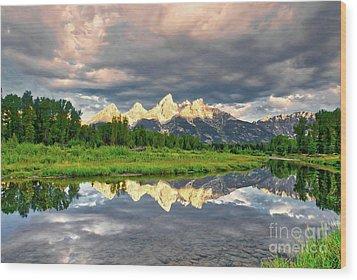 Peak Reflections 5 Wood Print by Mel Steinhauer