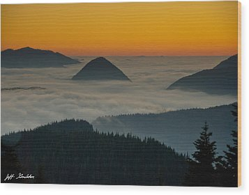 Peaks Above The Fog At Sunset Wood Print by Jeff Goulden
