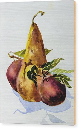 Pear And Apples Wood Print by Mindy Newman