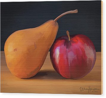 Pear And Plum 01 Wood Print by Wally Hampton