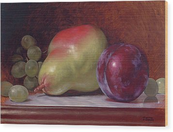 Pear And Plum Wood Print