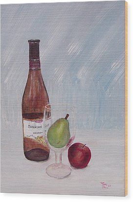 Pear In Glass Wood Print by Tony Rodriguez