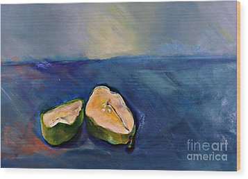 Pear Split Wood Print by Daun Soden-Greene