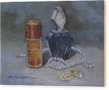 Pearls And Perfumes Wood Print by Margaret Hodgson