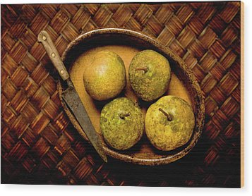 Pears And Dish Wood Print