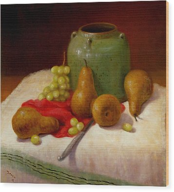 Wood Print featuring the painting Pears And Grapes by Donelli  DiMaria