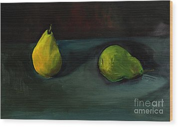 Pears Apart Wood Print by Daun Soden-Greene