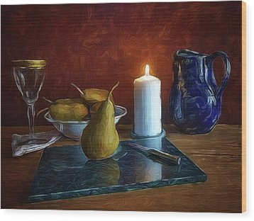 Pears By Candlelight Wood Print by Mark Fuller