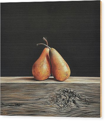 Wood Print featuring the drawing Pears by Elena Kolotusha