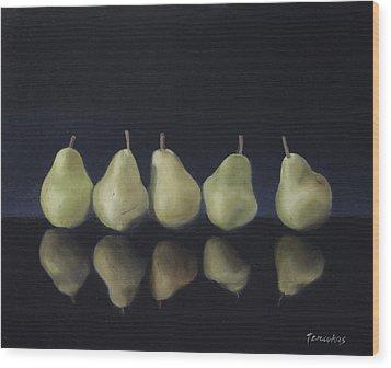 Pears In Black Wood Print