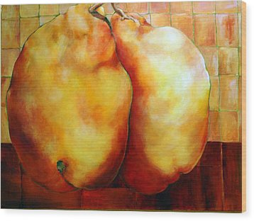 Pears In Love Wood Print by Nadine Dennis