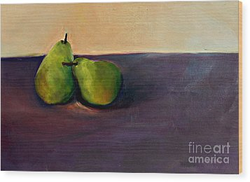 Pears One On One Wood Print by Daun Soden-Greene