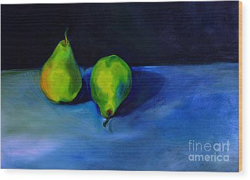 Pears Space Between Wood Print by Daun Soden-Greene