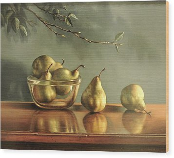 Wood Print featuring the painting Pears by William Albanese Sr