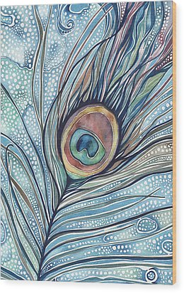 Wood Print featuring the painting Pea's Feather by Tamara Phillips