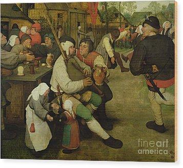 Peasant Dance Wood Print by Pieter the Elder Bruegel