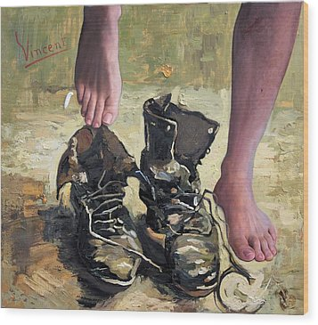 Peasant Shoes My Foot Wood Print by Richard Barone