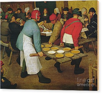 Peasant Wedding Wood Print by Pieter the Elder Bruegel