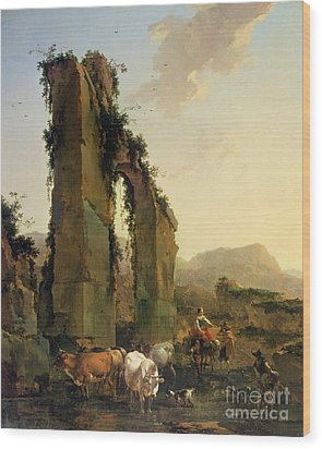 Peasants With Cattle By A Ruined Aqueduct Wood Print by Nicolaes Pietersz Berchem