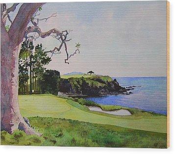 Pebble Beach Gc 5th Hole Wood Print by Scott Mulholland