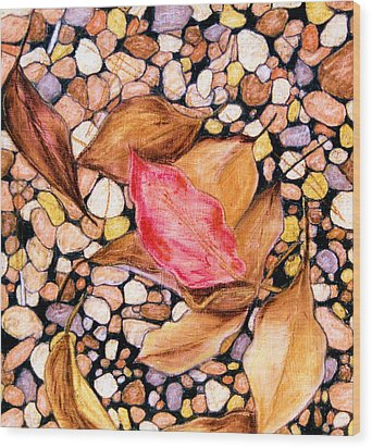 Pebbles And Leaves Wood Print by Jan Amiss