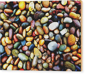 Pebbles On A Beach Wood Print