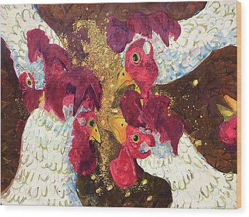 Wood Print featuring the painting Pecking Order by Jame Hayes