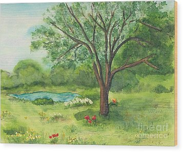 Wood Print featuring the painting Pedro's Tree by Vicki  Housel