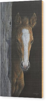 Wood Print featuring the painting Peek A Boo by Kim Lockman