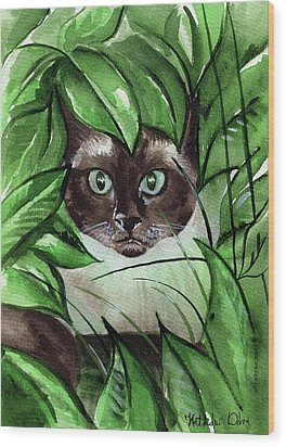 Wood Print featuring the painting Peek A Boo Siamese Cat by Dora Hathazi Mendes