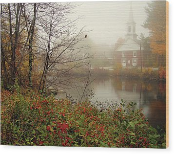 Foggy Glimpse Wood Print