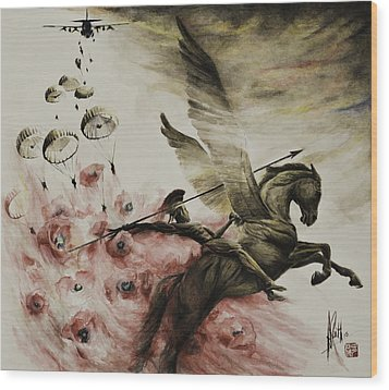 Wood Print featuring the painting Pegasus by Alan Kirkland-Roath