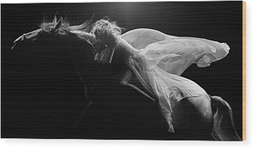 Wood Print featuring the photograph Pegasus Bw by Dario Infini