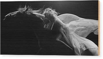 Wood Print featuring the photograph Pegasus Crop Bw by Dario Infini