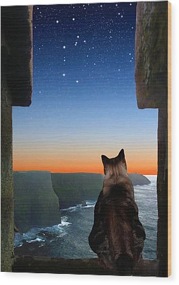 Pegasus Over The Cliffs Of Moher Wood Print by Kathleen Horner