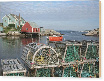 Peggys Cove And Lobster Traps Wood Print by Thomas Marchessault